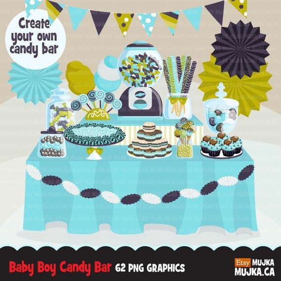 Baby Boy Candy Clipart Baby Shower Buffet Bar Display Etsy