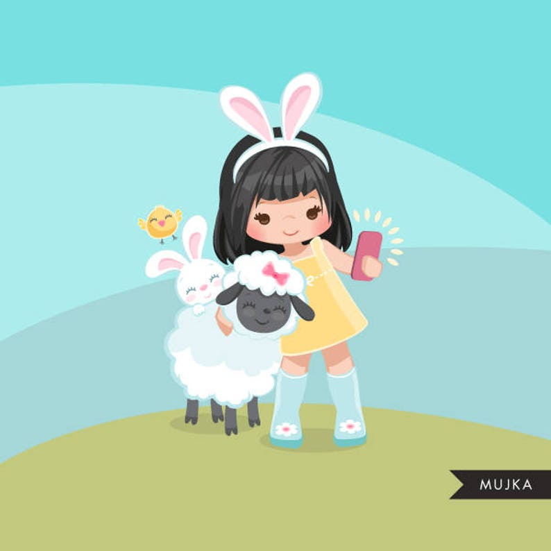 lamb scavenger Easter animals spring clipart card making bunny chick embroidery cute characters scrapbooking