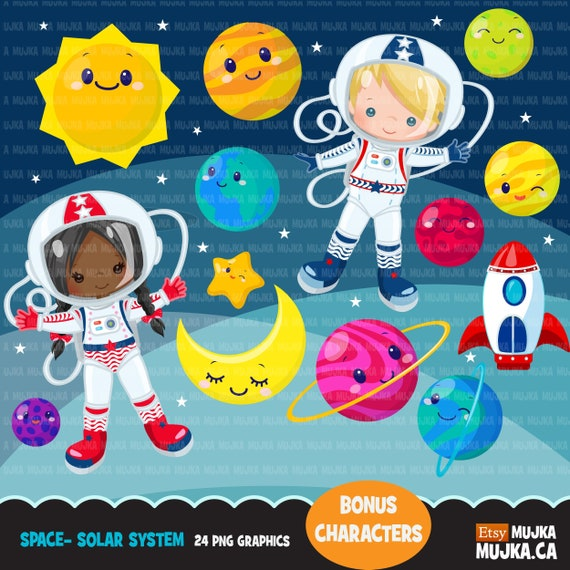 Space solar system clipart with astronauts & cute planets ...