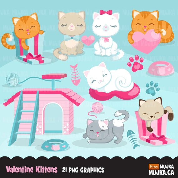Valentine S Day Kittens Clipart Cute Cat Graphics Cat Etsy