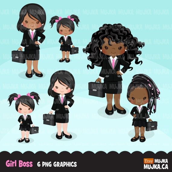 Girl boss little entrepreneur clipart  Cute boss mother