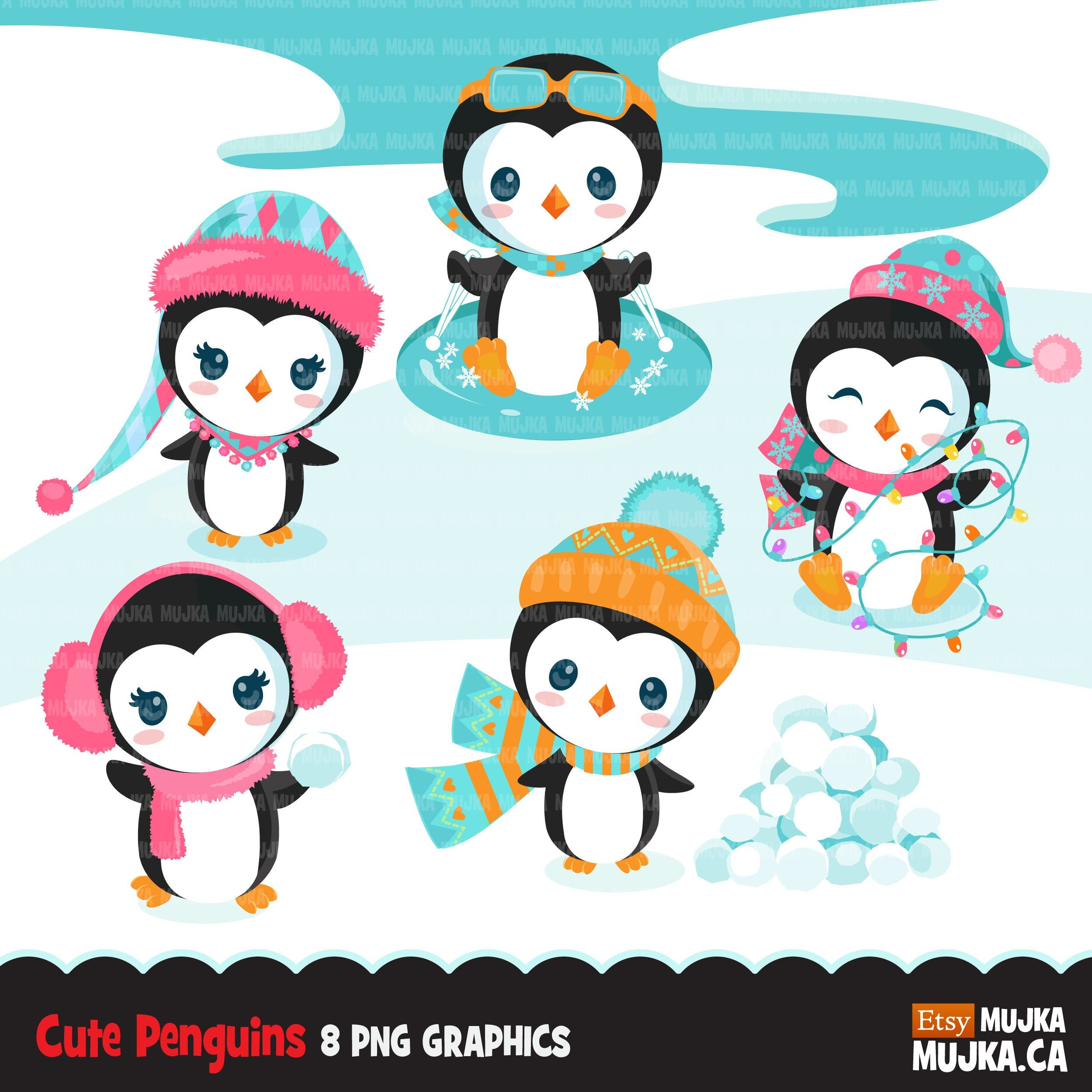 Christmas penguins clipart. Cute baby penguins in ...