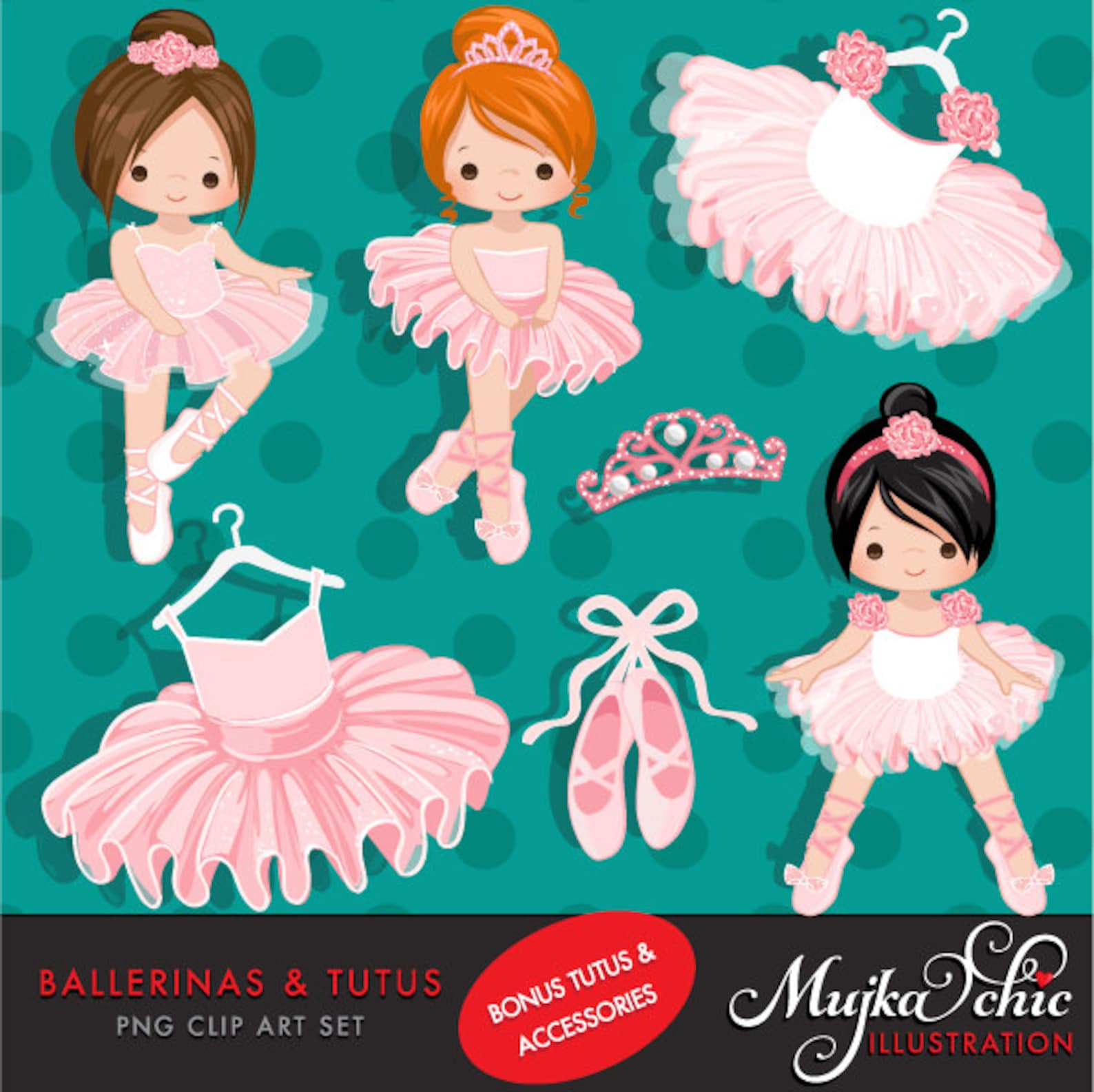 ballerina clipart with cute characters, pink tutu, ballet shoes graphics, ballet school, tiara, ballet dress, invitation, embroi