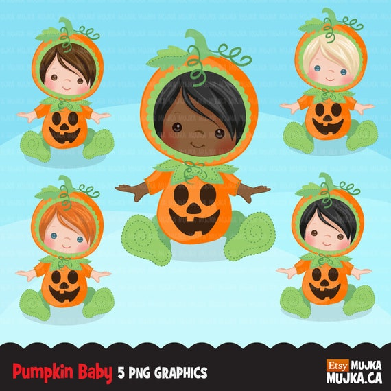 Baby Pumpkin Clipart Halloween Costume Baby Shower Graphics Card