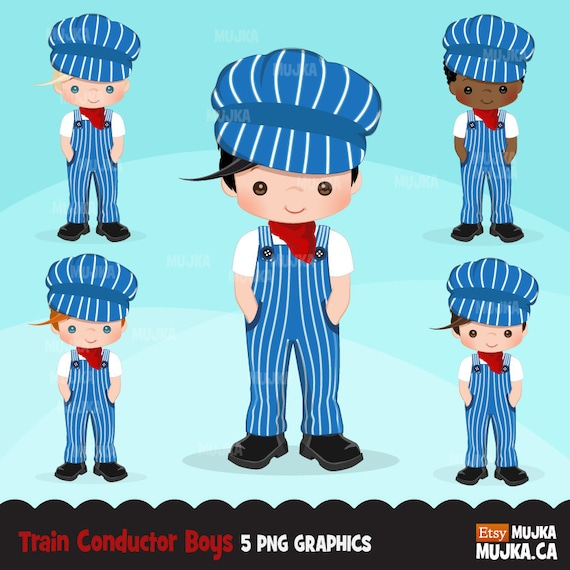 Train conductor clipart boys train party card making | Etsy