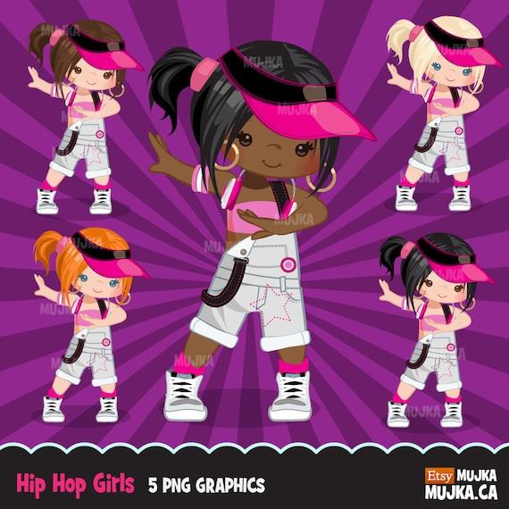 Hip hop dancer girls clipart, break dance, rapping ...