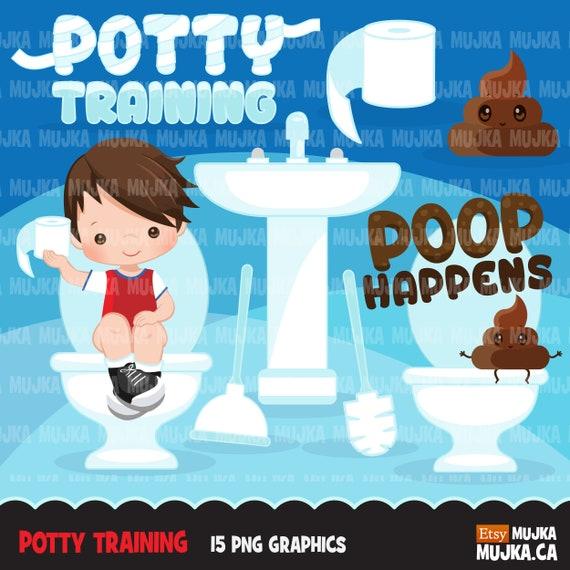 Potty Training Clipart Cute Boy Clip Art Bathroom | Etsy