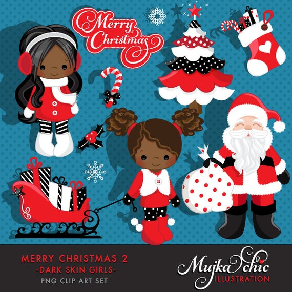 African Christmas.Merry Christmas Clipart African American Girls 2 Clipart Instant Download Christmas Graphics
