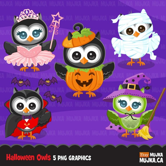 Halloween Owls Clipart Cute In Costumes