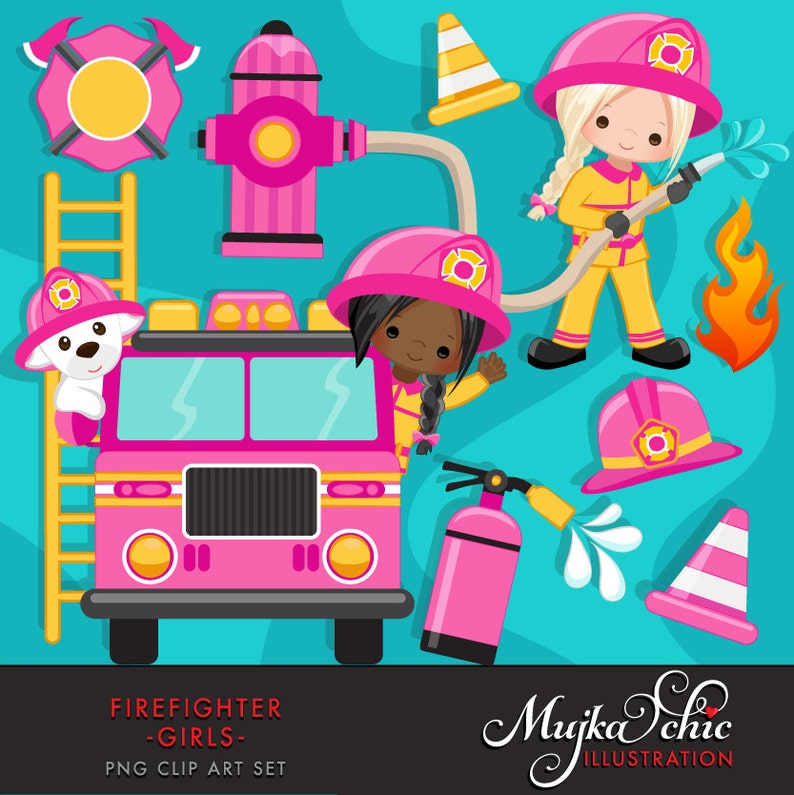 57e259afa26 Firefighter Girls Clipart. Cute fireman fire truck hose
