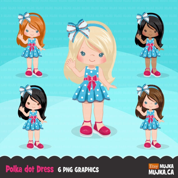 Polka Dot Dress Little Girl Clipart Cute Spring Summer Birthday