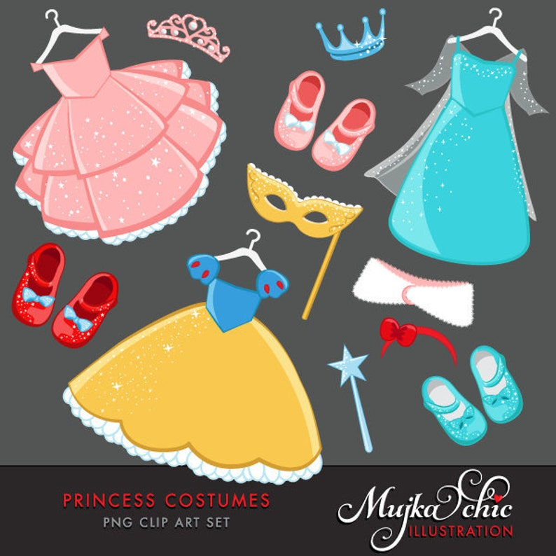 Princess Costumes Clipart with cute matching dress up image 0