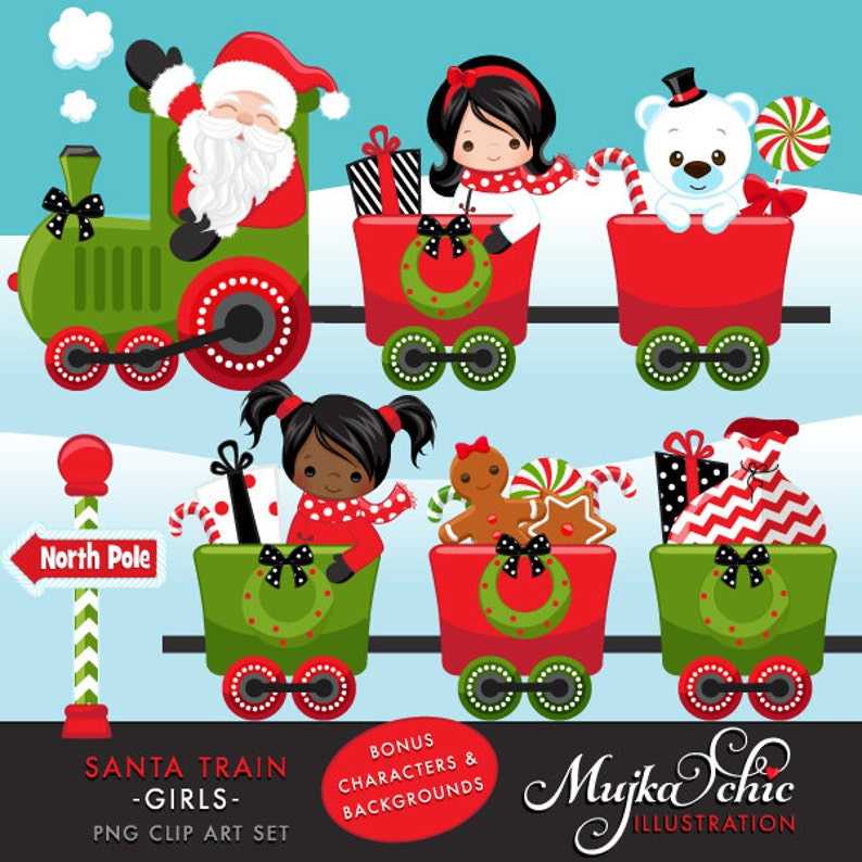 Christmas Santa Train Girls Clipart. Choo Cho Polar Express image 0