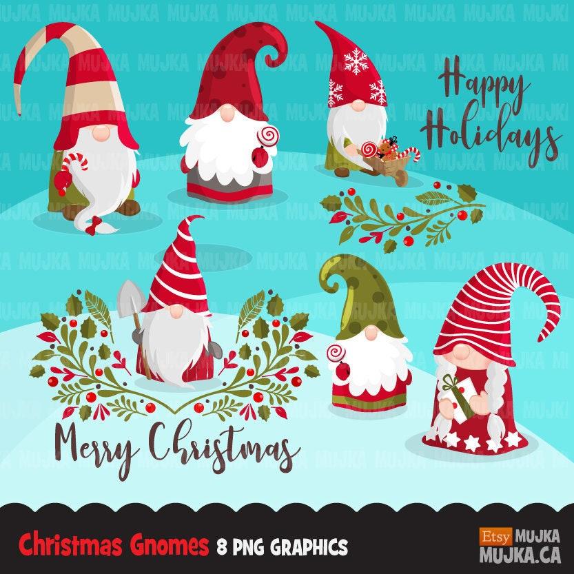 Weihnachten-Zwerge Clipart. Skandinavische Gnome Grafiken | Etsy