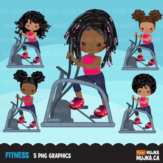 Fitness Clipart Healthy Lifestyle Yoga Workout Gym Etsy