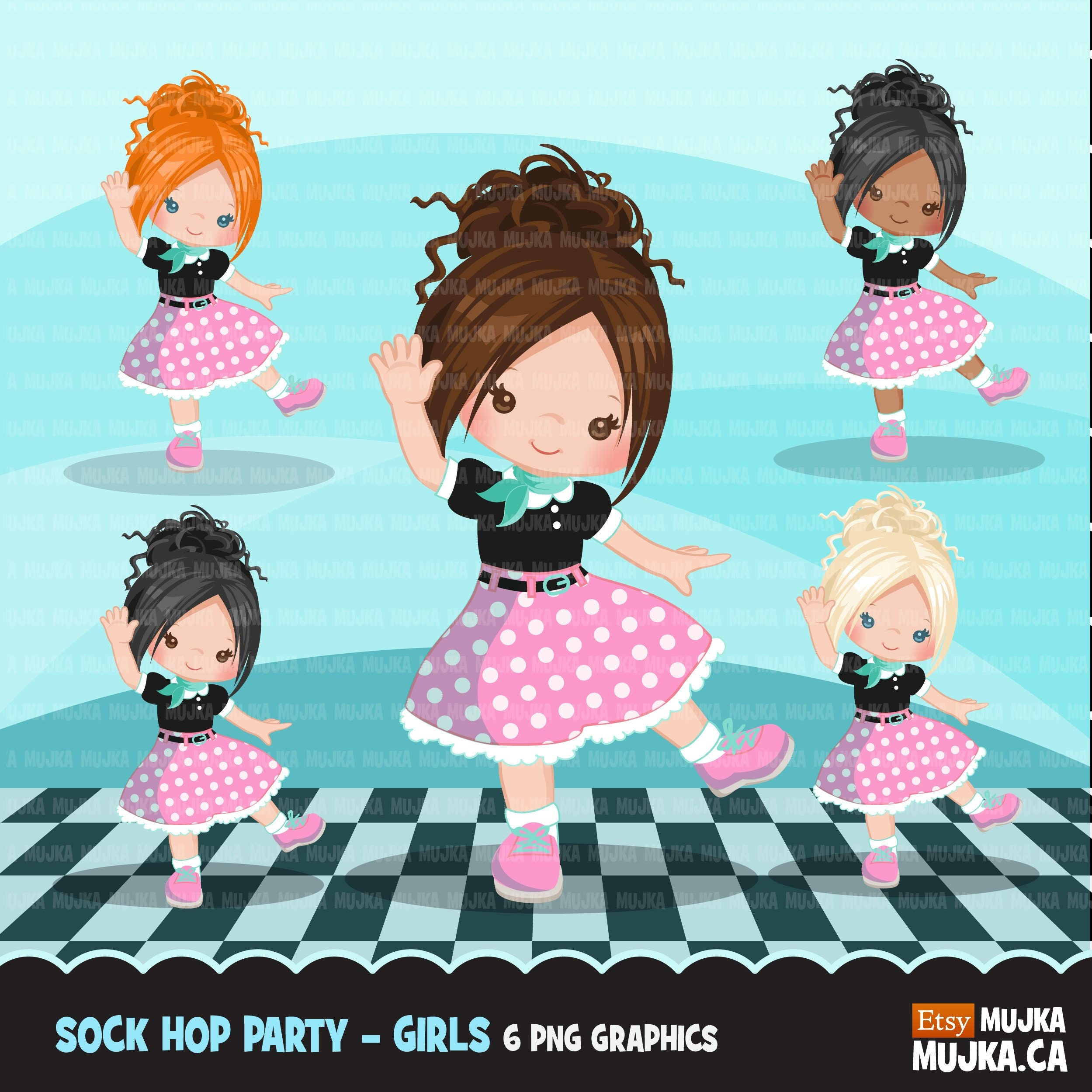 Sock Hop Party Clipart. 50's retro characters dancing | Etsy
