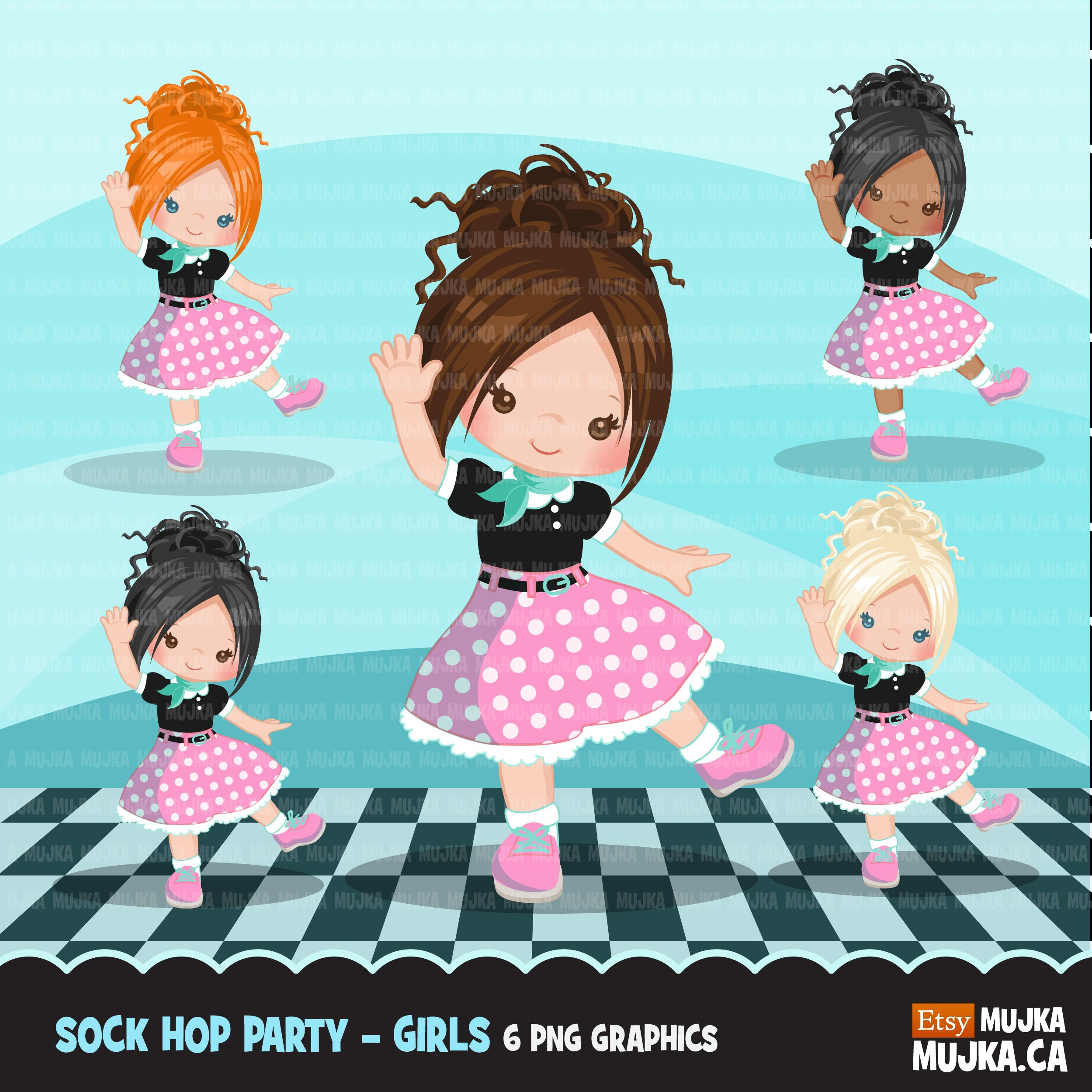 Sock Hop Party Clipart. 50's retro characters dancing   Etsy