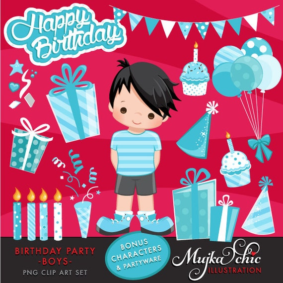 Boys Birthday Party Clipart With Cute Characters Birthday Cake