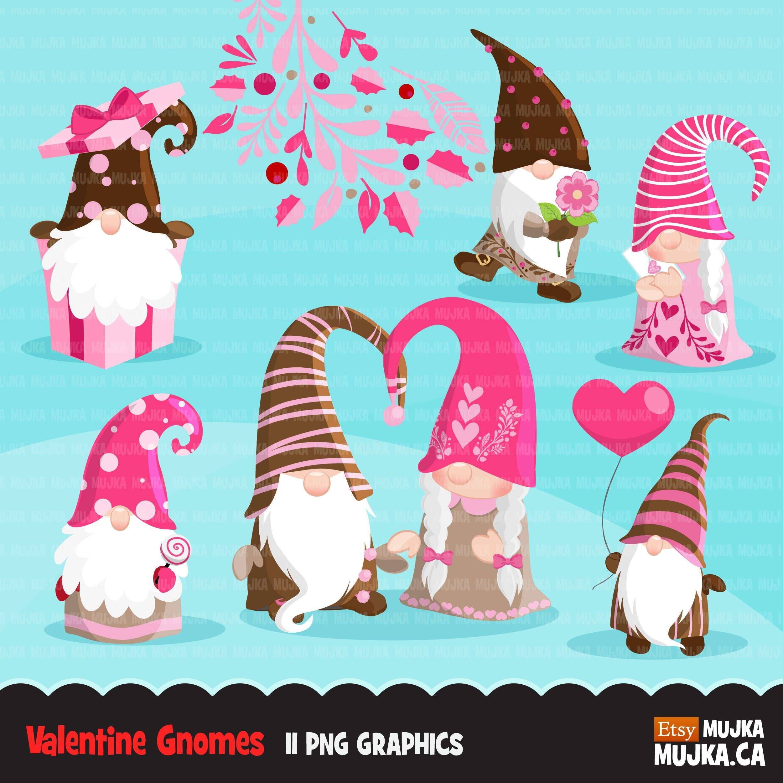Gnome Clip Art: Valentine Gnomes Clipart. Scandinavian Gnome Graphics