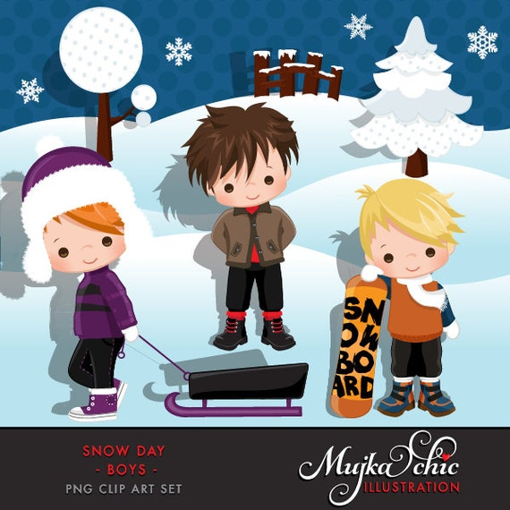 Snow Day Clipart Winter Outdoor Graphics With Cute Characters Snowboarding Winter Clipart Cute Boys Outdoor Illustrations Printables By Mujka Design Inc Catch My Party