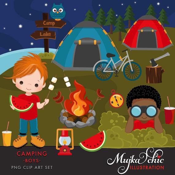Camping Clipart para niños. Camping tiendas de campaña fuego