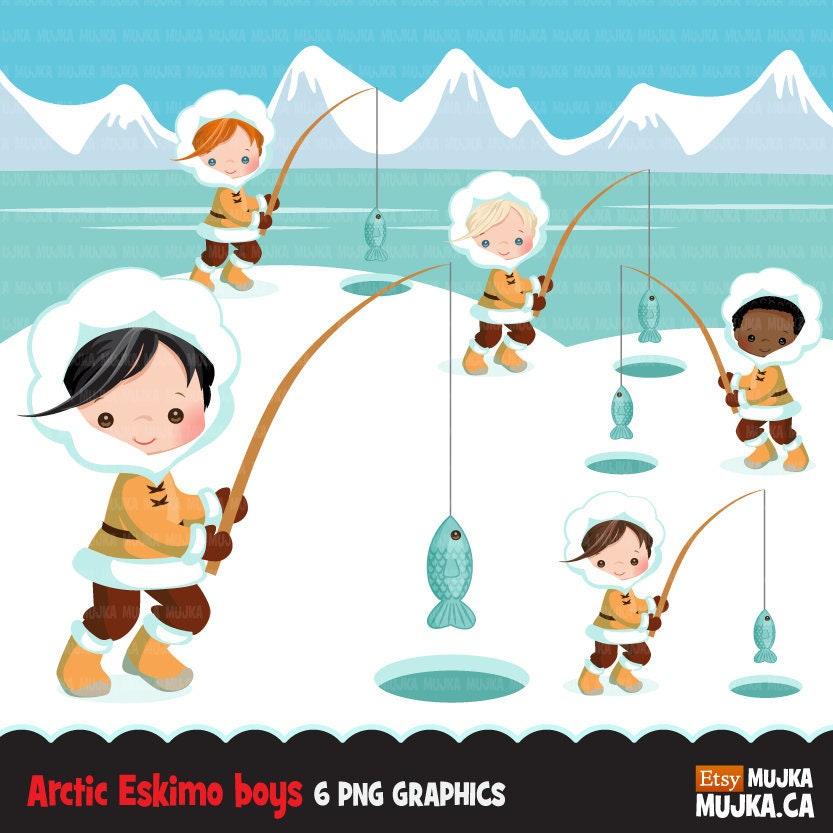 Arctic eskimo clipart. Cute winter background fishing boys ...