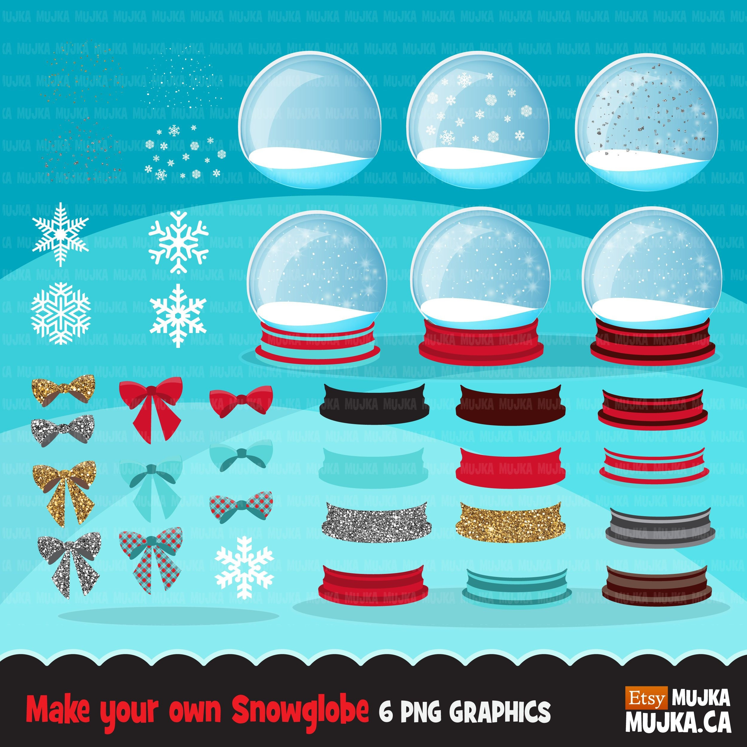 Christmas snow globe clipart Make your own Cute snow globes