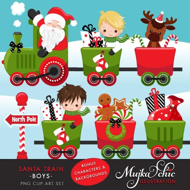 christmas santa train clipart choo cho polar express cute etsy rh etsy com Trains at Christmas christmas train clipart black and white