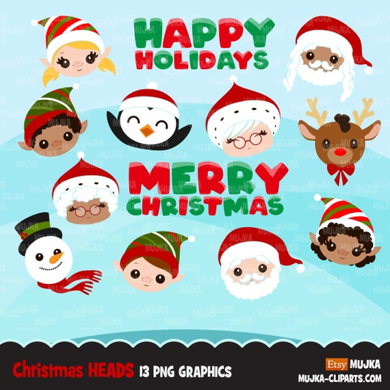 Christmas Clipart Christmas Heads Black Santa Mrs Santa Elves Rudolph Noel Graphics Holiday Characters Png Sublimation Clip Art By Mujka Design Inc Catch My Party