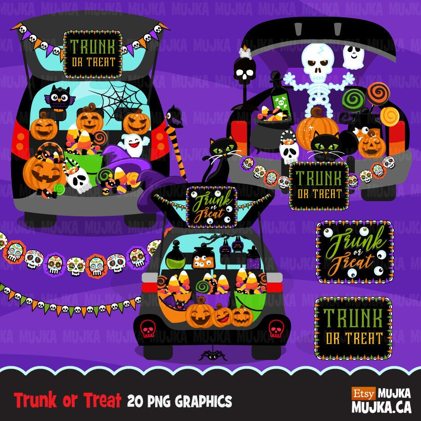 Trunk Halloween Decorating Ideas: Halloween Trunk Or Treat Clipart. Trick Or Treat Graphics