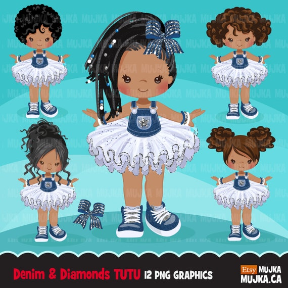 Denim And Diamonds Tutu Clipart Glitter Tutu Modern Outfits Jean Overalls Fashion Kids Clip Art Black Girl By Mujka Design Inc Catch My Party