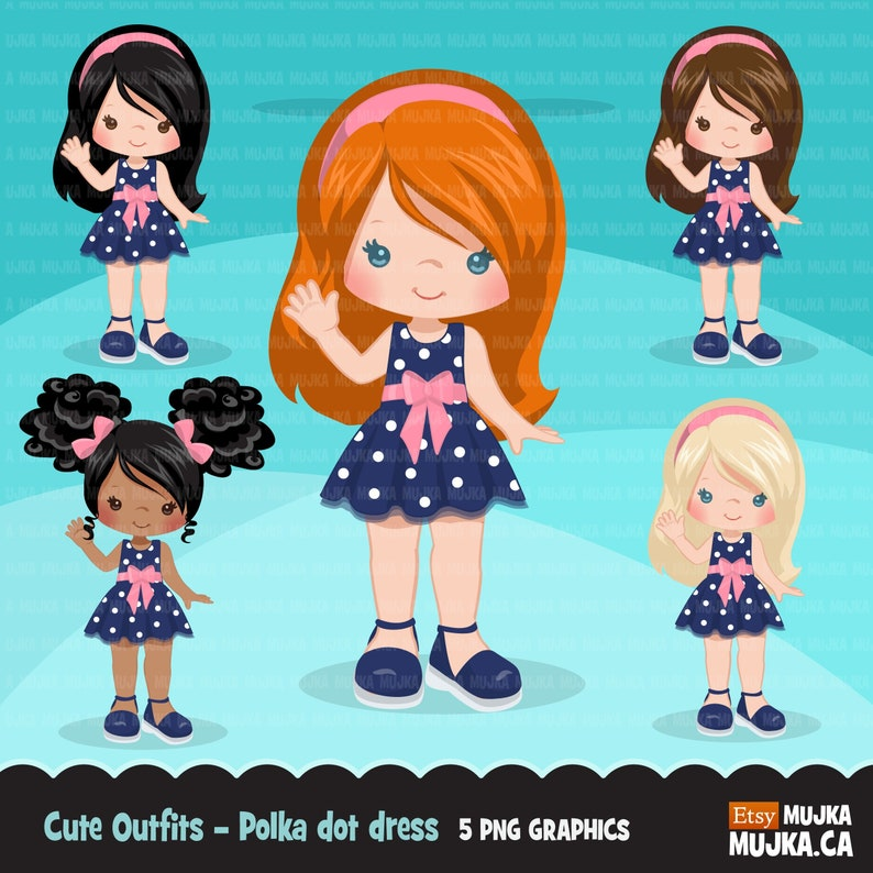 0a222f643db3 Little girl cute outfits clipart. Girls with polka dot dress | Etsy