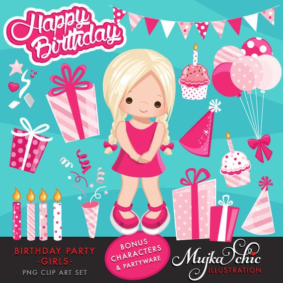 Girls Birthday Party Clipart With Cute Characters Birthday Cake