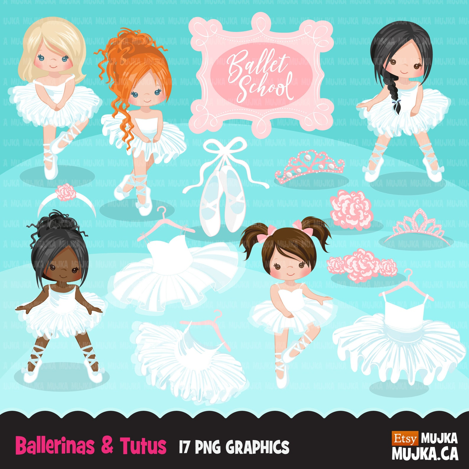 ballerina clipart, chic ballet characters, afro girls, ballet school, shoes, tiara, frame sticker, white tutu, dancers, recital,