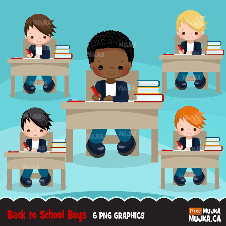 studying school supplies stack of books school desk black student graphics Back to school Clipart Cute students reading