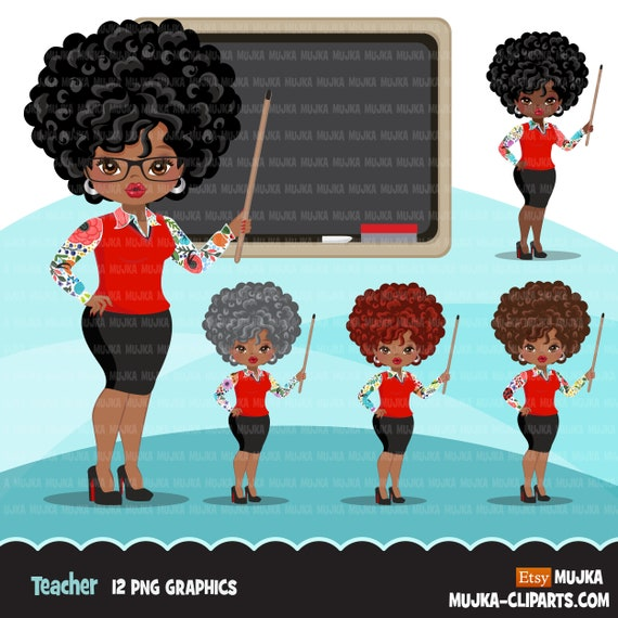 Black Teacher Avatar Clipart With Blackboard Print And Cut Education Graphics Afro Girl Clip Art School Teaching By Mujka Design Inc Catch My Party