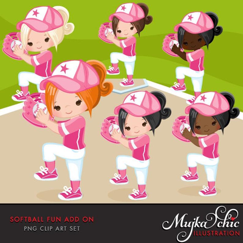 Softball Clipart ADD ON. Softball graphics baseball players image 0