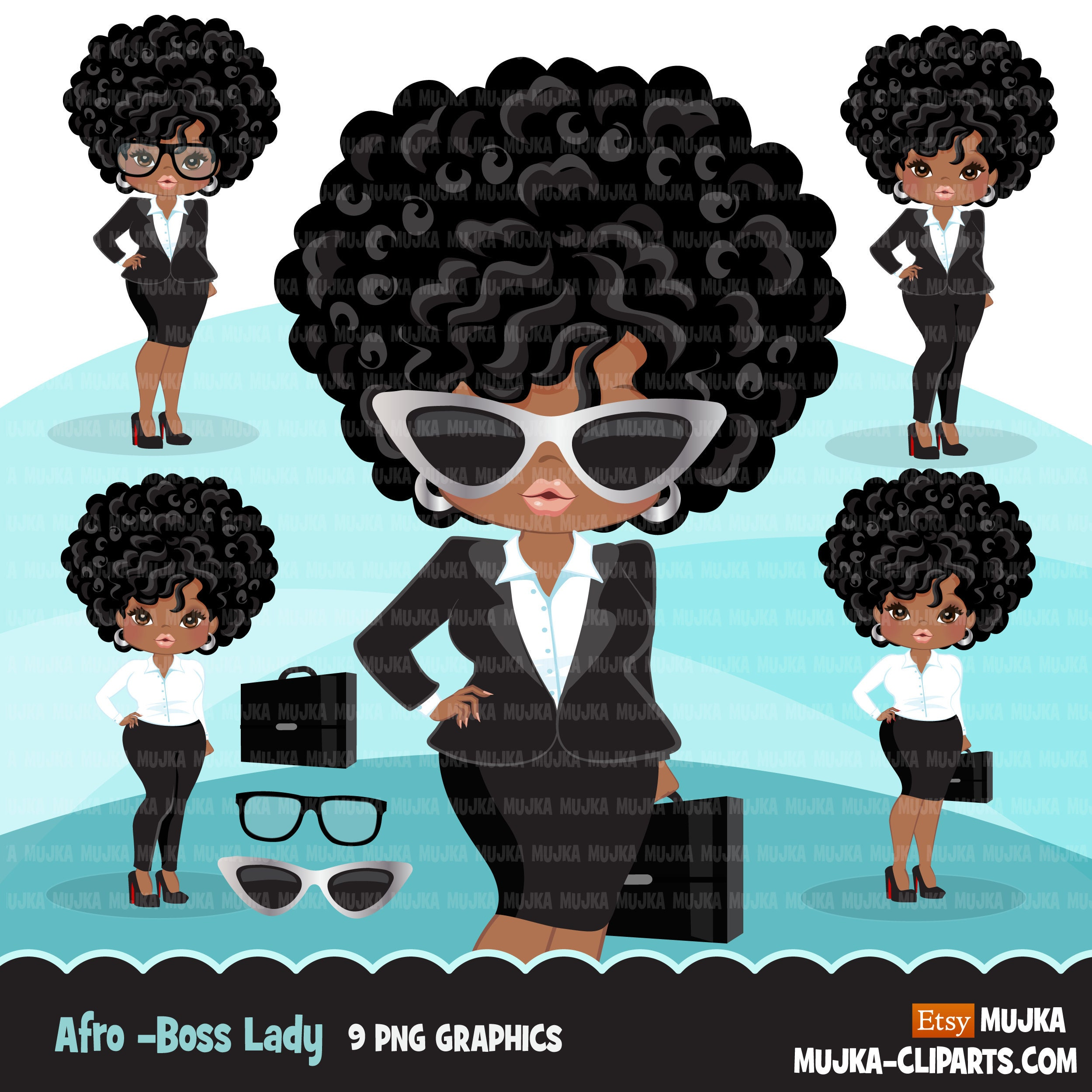 Afro Black Woman Clipart With Business Suit Briefcase And Etsy