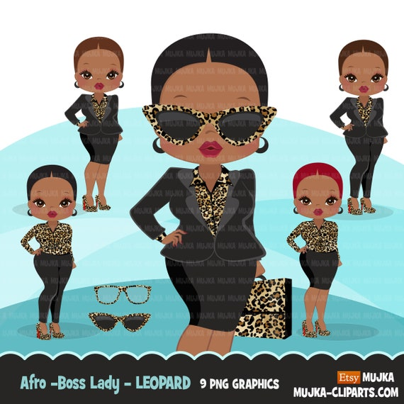 Afro Woman Clipart With Business Suit Briefcase And Glasses