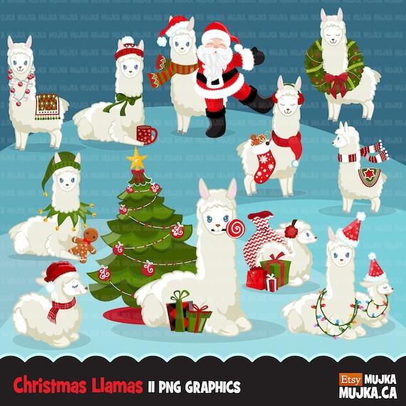 Christmas Llama.Christmas Llama Clipart Llamas With Christmas Tree Gifts Santa Noel Llamas Little Sheep Baby Llama Graphics Invitation Commercial