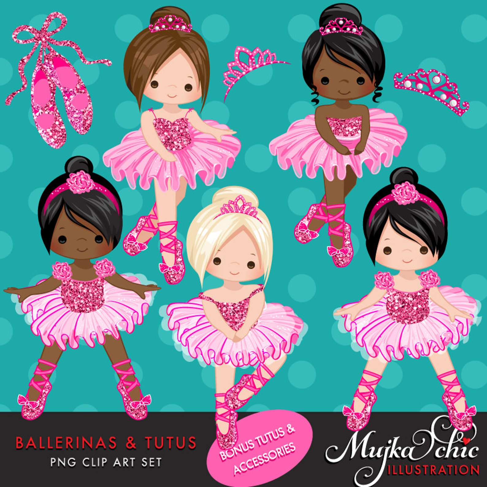 ballerinas and tutus hot pink glitter clipart, ballerina, hot pink tutu, hot pink tiara, ballet shoes, ballet dress, african ame