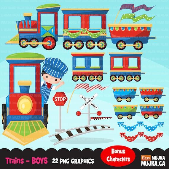 Train clipart, boys train graphics  Cute colorful train carts