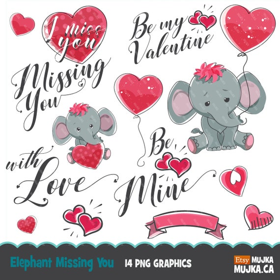 b7dae52fbafd2 Valentine clipart, cute animals. Valentine's day elephant graphics ...