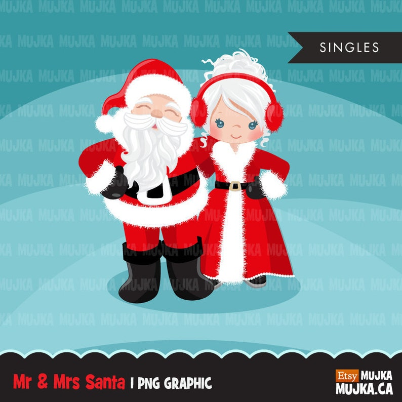 Santa Clipart Mr And Mrs Santa Christmas Graphics Illustrations Noel Clipart Santa S Wife Cute Christmas Couple Commercial Use Planner