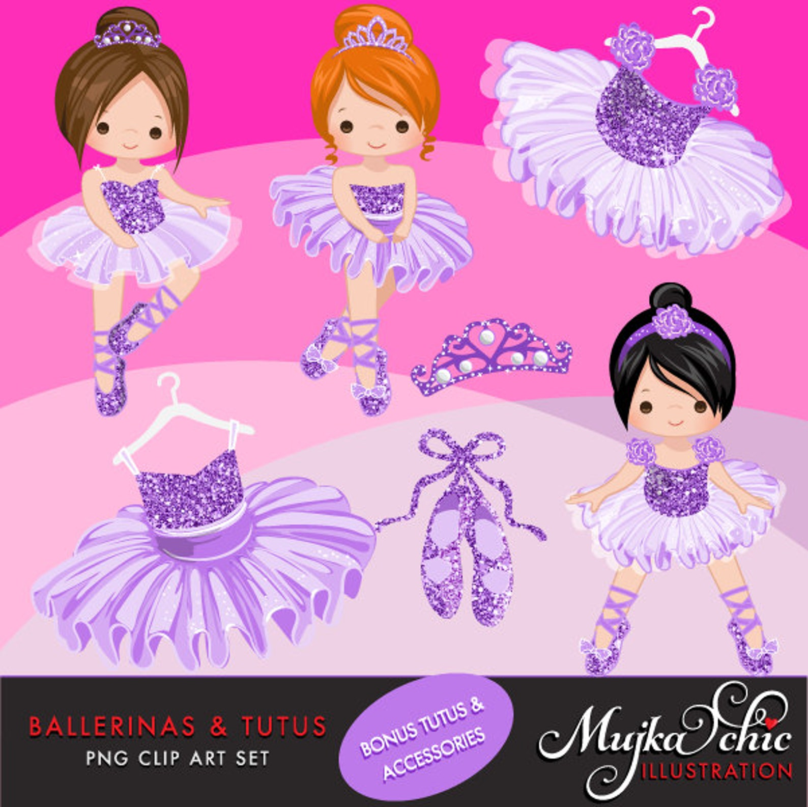 ballerinas and tutus purple glitter clipart with cute characters, purple tutus, ballet shoes graphics instant download ballerina