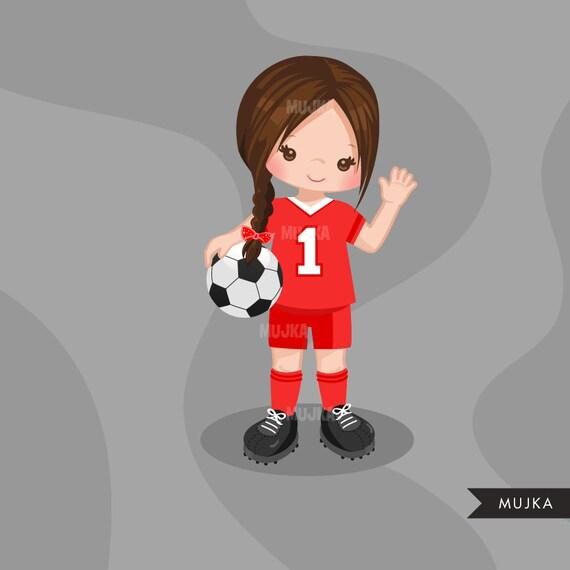 Fussball Clipart Sport Grafiken Madchen Fussballer Charaktere Sticker Kommerzielle Nutzung Kinder Scrapbooking Weltcup Aufgaben