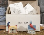 Vintage Lenox miniatures Bird House Figures Cardinal Church, Plantation , Fairy garden