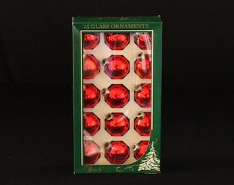 Rauch Holiday Home Glass Christmas Tree Ornaments - Red - Set of 15 Mercury Glass Ball Ornaments - Retro Holiday Decorations
