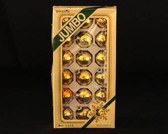 Pyramid Glass Christmas Tree Ornaments - Jumbo Box - Set of 18 Rauch Mercury Glass Ball Ornaments in Gold - Retro Holiday Decorations