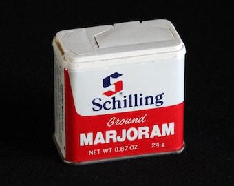 Vintage Schilling Spice Tin - Ground Marjoram - Spice Container - McCormick & Co - 0.87 oz - Retro Kitchen Decor - Mid Century 1977